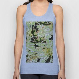 Yellow Desert Echeveria Pattern Unisex Tank Top
