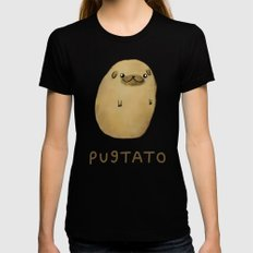 Pugtato MEDIUM Black Womens Fitted Tee