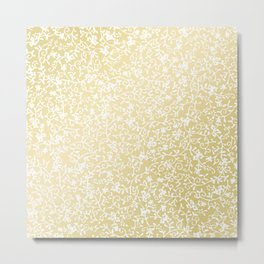 Hand painted modern faux gold white floral pattern Metal Print