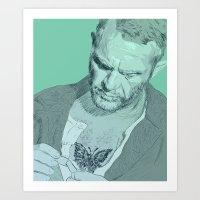 steve mcqueen Art Prints featuring Papillon - Steve McQueen by Tom Ralston