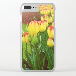 Yellow Red Tulips Clear iPhone Case