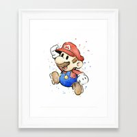mario Framed Art Prints featuring Mario Watercolor by Olechka