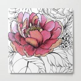 Painted Peony Garden Metal Print