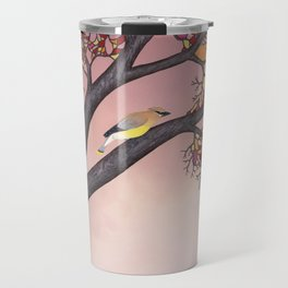 cedar waxwings on the stained glass tree Travel Mug
