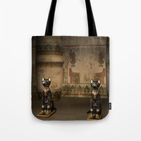 egypt Tote Bags featuring Egypt temple  by nicky2342