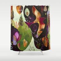 "flora bowley Shower Curtains featuring ""Deep Peace"" Original Painting by Flora Bowley by Flora Bowley"