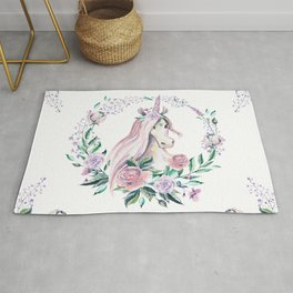 Pink roses and floral unicorn design Rug