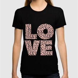 Love pink and black spotty pattern T-shirt