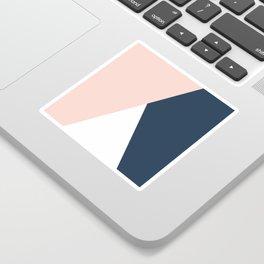 Elegant blush pink & navy blue geometric triangles Sticker
