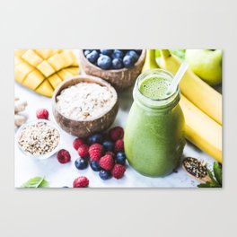fresh smoothie with fruits, berries, oats and seed Canvas Print