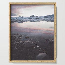 Jokulsarlon Lagoon - Sunset - Landscape and Nature Photography Serving Tray