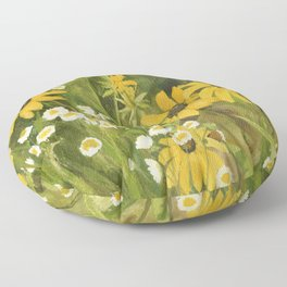 Watercolor Black Eyed Susan Wildflower Botanical Garden Flower Floor Pillow