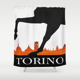 Vintage Torino Or Turin Italy Travel Poster Shower Curtain