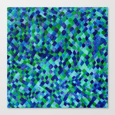 Watercolour Diamonds Blue Canvas Print