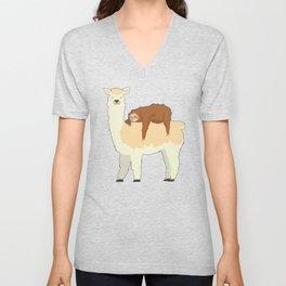 Cute Llama with a Sleeping Sloth Gift Unisex V-Neck