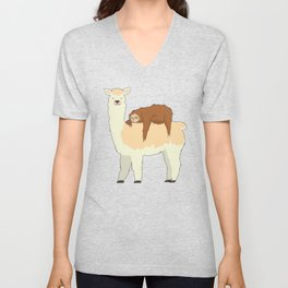 Cute Llama with a Sleeping Sloth Gift Unisex V-Neck