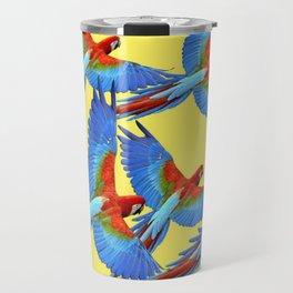 FLOCK OF BLUE MACAWS ON YELLOW Travel Mug