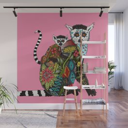 ring tailed lemur love pink Wall Mural