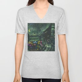 Wedding Night, Paris, Avenue of the Opera House by Marc Chagall Unisex V-Neck
