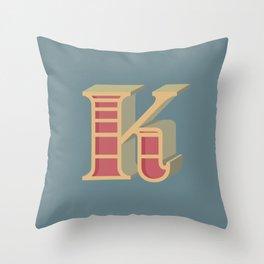 Alphabet Drop Caps Series- K Throw Pillow