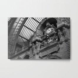 Antwerp Belgium Central Train Railway Station Clock Tower black and white photography L. Meyvaert  Metal Print