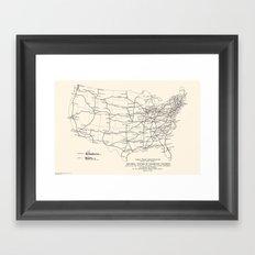 1947 Interstate Highway Map: Digital Recreation Framed Art Print