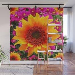 ABSTRACT GOLD SUNFLOWER FLOWERS ART Wall Mural
