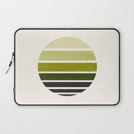 Olive Green Mid Century Modern Minimalist Circle Round Photo Staggered Sunset Geometric Stripe Desig Laptop Sleeve