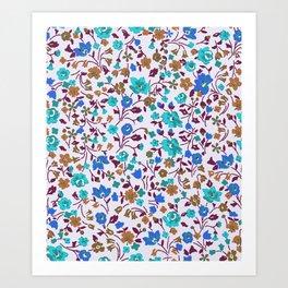 Ditsy Teal Floral Art Print