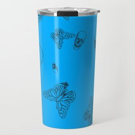 Blue Skulls and Butterflies Travel Mug