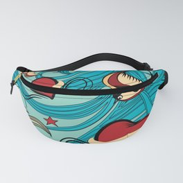 Cherry, Hearts, bird and stars on Rockabilly Tattoos Collection - Vintage blue Fanny Pack