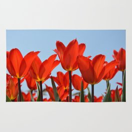 Bright Red Tulips Rug