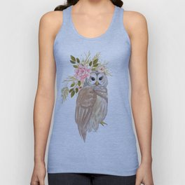 Owl with flower crown Unisex Tank Top