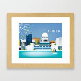 Madison, Wisconsin - Skyline Illustration by Loose Petals Framed Art Print