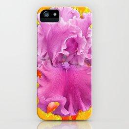PINK FRILLY GARDEN IRIS YELLOW ART iPhone Case