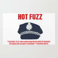 movie poster Area & Throw Rugs featuring Hot Fuzz Movie Poster by FunnyFaceArt