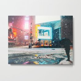 New York City Snow in Times Square Metal Print