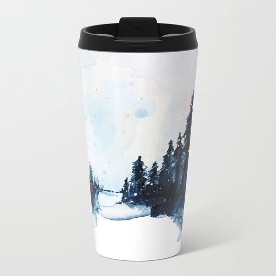 Winter Watercolor Metal Travel Mug