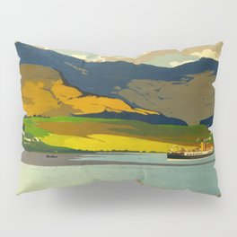 Loch Awe Vintage Mid Century Art Travel Poster British Railways Colorful Landscape Pillow Sham