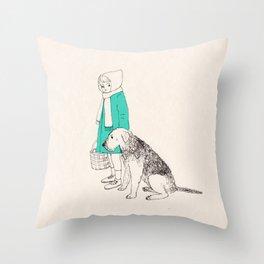 girl n dog Throw Pillow