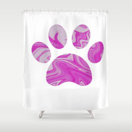 Pink Paw Print Shower Curtain