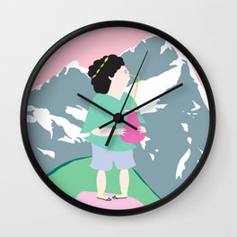 The boy and the mountain pig Wall Clock
