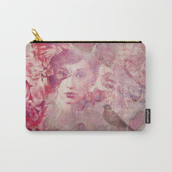 Lost Moments woman romantic illustration in shades of red Carry-All Pouch