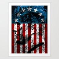 union jack Art Prints featuring UNION JACK by Laertis Art