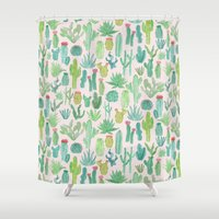cactus Shower Curtains featuring Cactus by Abby Galloway