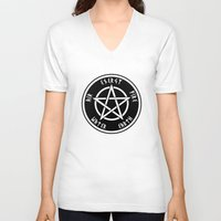 pentagram V-neck T-shirts featuring Pentagram by Urban Monk Store