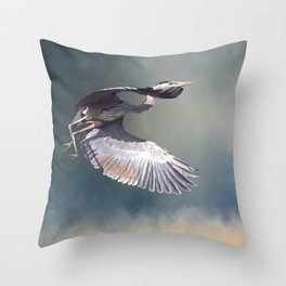Heron in Flight Throw Pillow