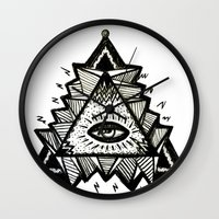 third eye Wall Clocks featuring Third Eye by Eco Juliet