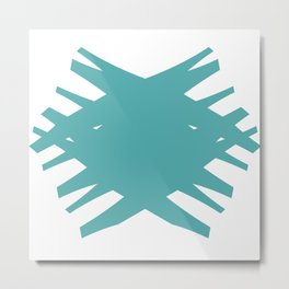 Accordian Summer X | teal Metal Print