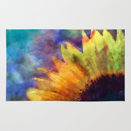 Sunflower Flower Floral on colorful watercolor texture Rug